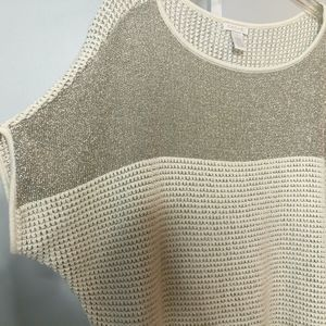 Cache Metallic Dolman Sleeve Sweater